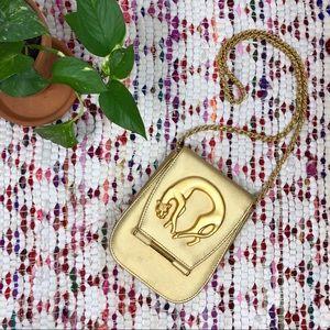 Vintage 80s Glam Gold Jaguar Chain Cross Body Bag